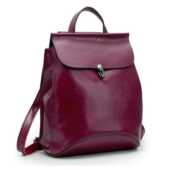 8f0dd5210 Dark Red Leather backpack purse bag like new. M_5c9e51e915281229bde0a954